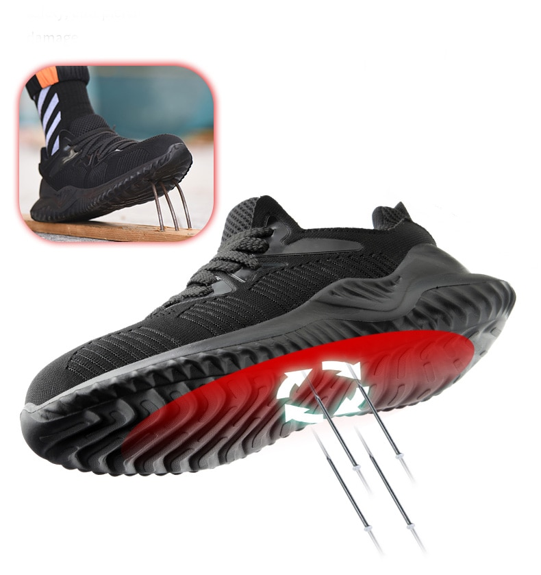 JACKSHIBO Men Safety Work Shoes Boots Male Autumn Steel Toe Boots Anti-Smashing Protective Construction Safety Work Sneakers 3