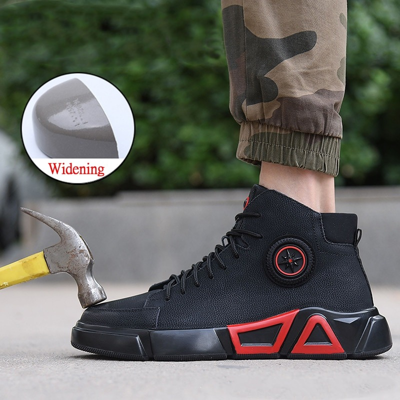 New exhibition waterproof Genuine Leather Safety shoes steel toe cap anti-smashing Work Boot Winter Plush Warm Military Men Boot 3