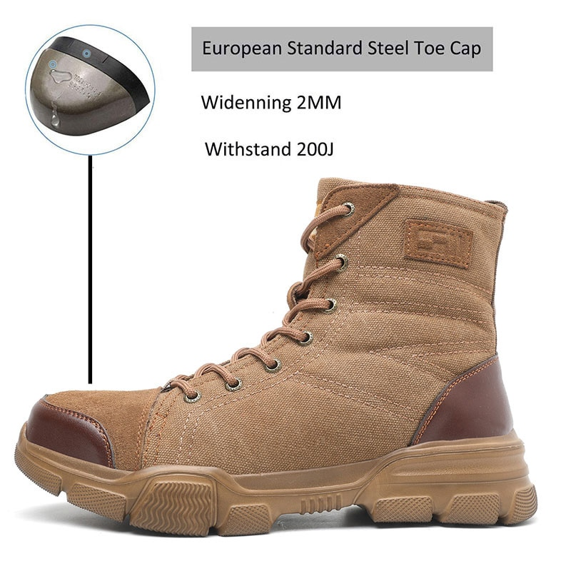 JACKSHIBO Safety Work Boots Shoes For Men All Season Anti-smashing Steel Toe Cap Boots Indestructible Working Shoes Boots Men 5