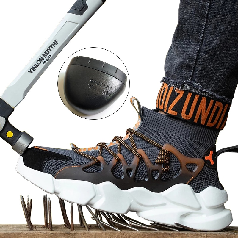 New Safety Shoes Men Indestructible Sneakers Socks Shoes Work Boots Puncture Proof Work Sneakers Safety Boots Steel Toe Shoes 1
