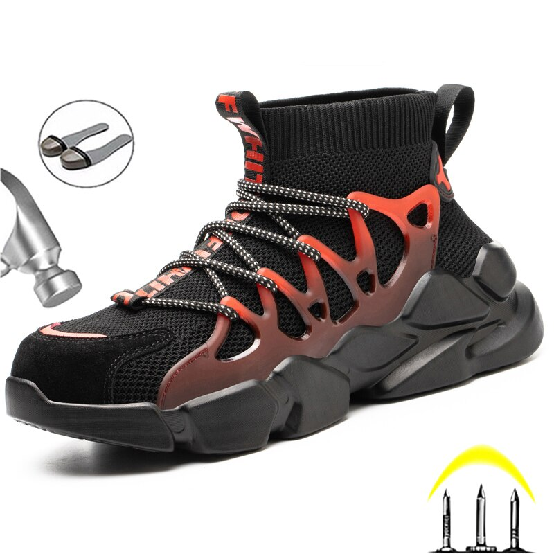 New Safety Shoes Men Indestructible Sneakers Socks Shoes Work Boots Puncture Proof Work Sneakers Safety Boots Steel Toe Shoes 3