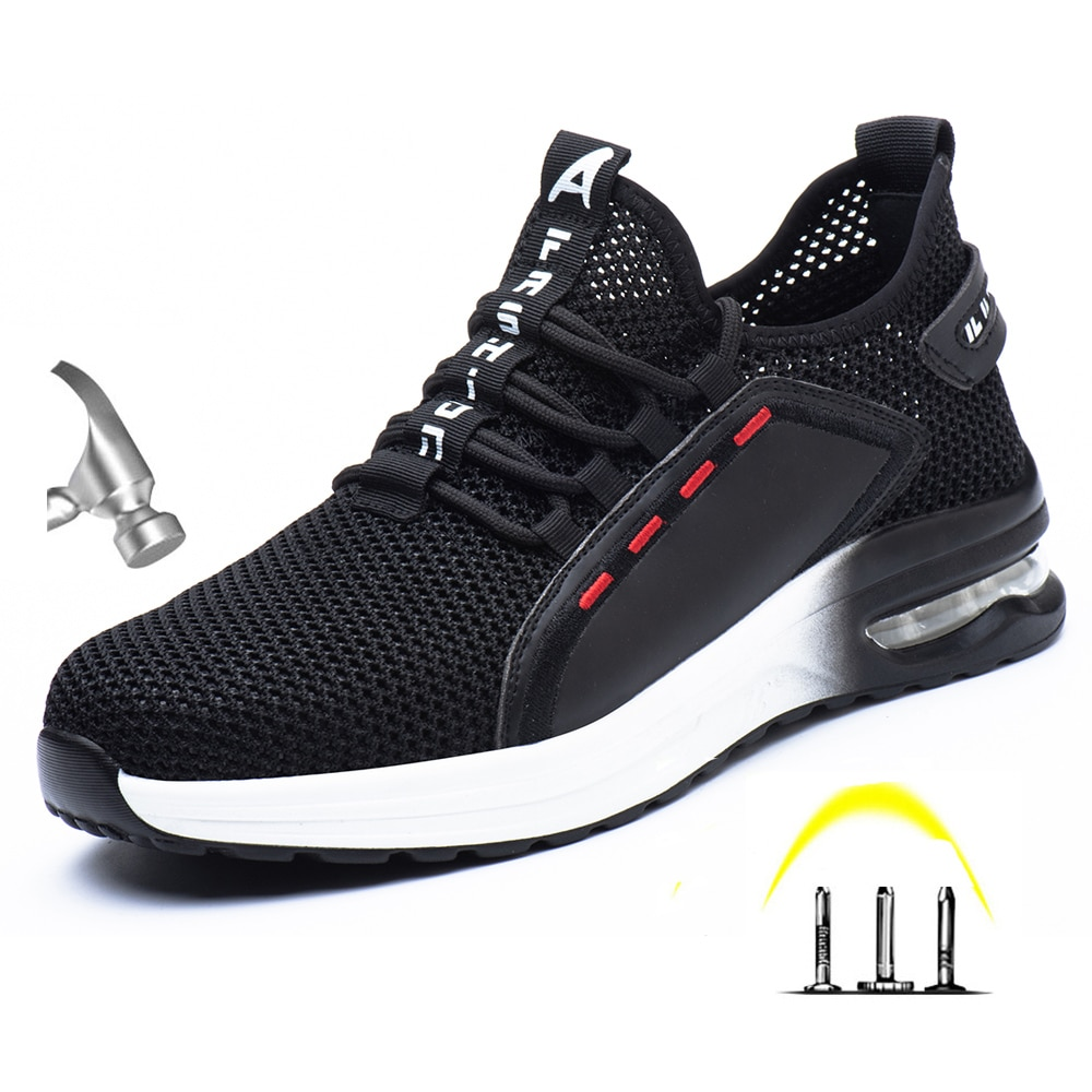 New Men's Outdoor Breathable Steel Toe Protective Work Shoes Puncture Proof Safety Boots Indestructible Shoes Walking Sneakers 1