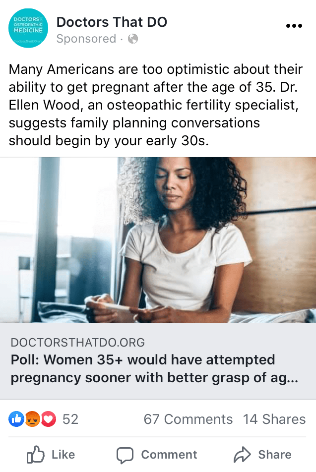 facebook ad about 35+ year old women and pregnancy