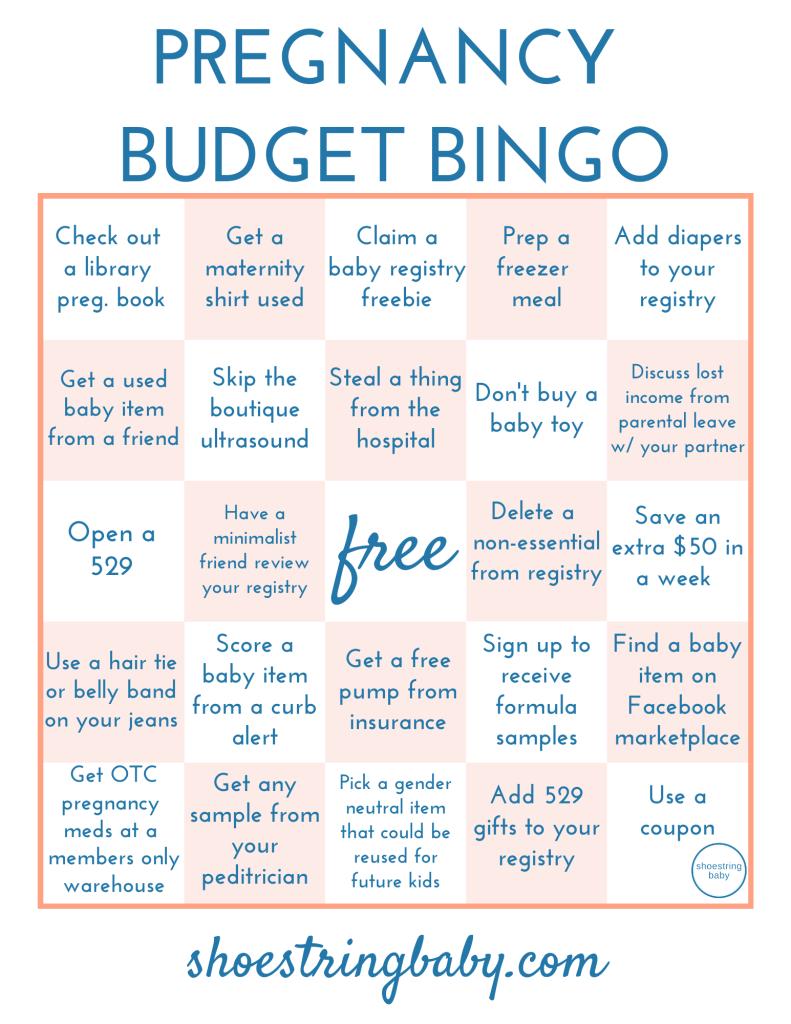 Pregnancy savings bingo - a pregnancy budget challenge