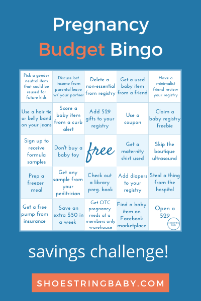 Pregnancy budgeting bingo - save money while pregnant