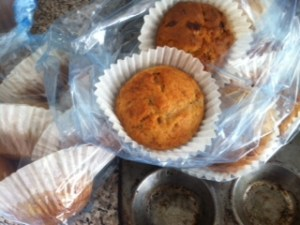 Banana muffins ready for the freezer