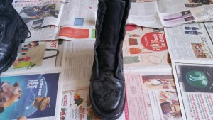 old dirty saf boot for polishing