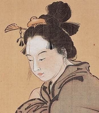 Bijinkan-agi-zu (Beautiful Woman with Frogs) by Kawanabe Kyōsai