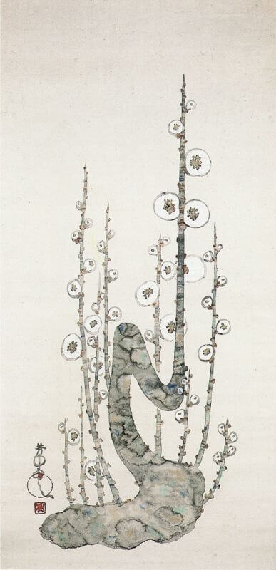 White Blossoms Painting by Nakamura Hōchū