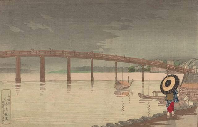 View of Tokyo's Shin-Ōhashi Bridge in Rain by Kobayashi Kiyochika