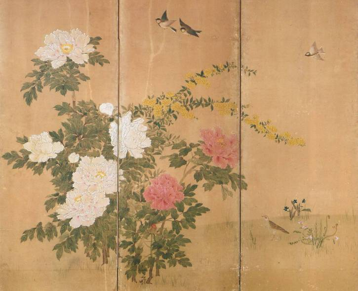 Birds and Flowers of the Four Seasons (part) by Umeto Zaishin