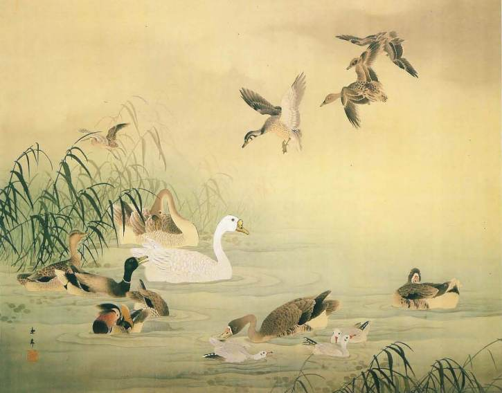 """Ashi Sui Kinzu"" (Reeds, Water and Birds) by Imao Keinen"