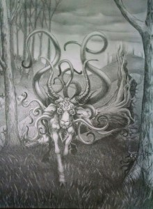 Image is a goatlike creature, with a large maw on her chest, the horns of a brahma bull, and a back covered in tentacles. It is walking in a forest clearing over a fell tree.