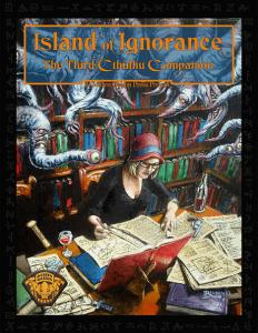Image is of a book cover. The illustration is a 1920's era female pouring over old occult manuscripts with a bottle of wine, it's accompanying glass and a pistol. Several tentacles ending in eyes and mouths descend from the library shelves behind her.