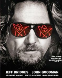 It's a picture of Jeff Bridges, with long hair and a goatee. He is wearing Sunglasses, that are reflecting the Elder Sign.