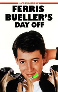 A picture of a young Matthew Broderick altered to show him holding a syringe with a green liquid in it. He's smiling.