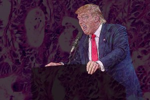 Image is Donald Trump ( a fair skinned male in a suit ) emphatically screaming at a podium, while some odd distortion is surrounding him.