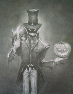 Image is a tall, lank man in an old, tattered black tuxedo with tails. VERY thin -- skeletal. Hands covered by white gloves. Figure is slightly hunches and crooked. Overly tall, thin top hat, again old and worn and bent. High collar on shirt and hat hide face -- just a black shadow but with a pair of burning jack o'lantern eyes and a wide burning jack o'lantern mouth showing. Carries an evil looking, glowing jack o'lantern in one hand and a large black sack over his shoulder hat he uses to scoop up children.