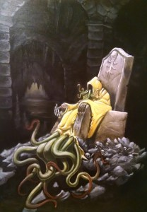 A yellow hooded figure with long claws sitting in a stone throne with skulls in the debris around it. The figure has tentacles coming out underneath it's robes.