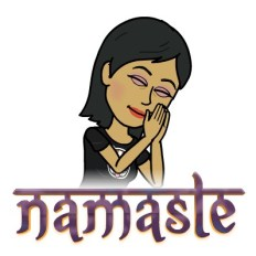 bitmoji of Shonali saying namaste