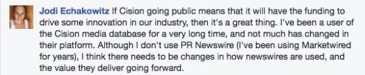 Jodi Echakowitz comment on Cision going public