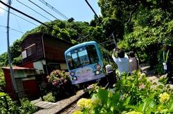 江ノ電のラッピング車両「スキップえのんくん号」でクイズ