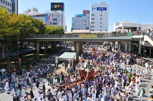 藤沢市民まつり2014:藤沢駅前でどっこい湘南神輿&湘南甚句♪