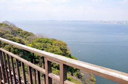海が見える江ノ島の食事処江之島亭からの湘南海岸