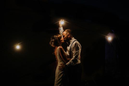 Night time wedding photos with festoon lights