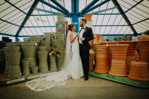 Garden centre wedding photos