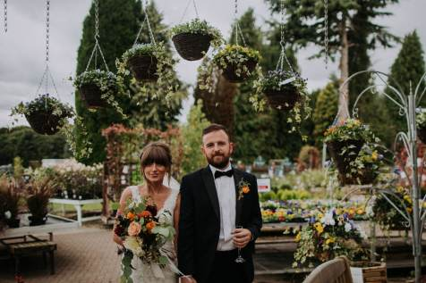 wedding photos in a garden centre