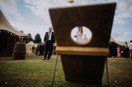 Festival tipi wedding garden games