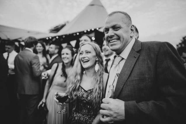 Happy wedding guests captured in photography