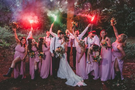 tipi festival wedding flare fun photos with bridal party