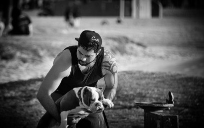 A guy and his dog.