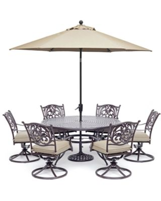 furniture chateau outdoor aluminum 7 pc set 60 round dining table 6 swivel rockers with sunbrella cushions created for macy s from macys com