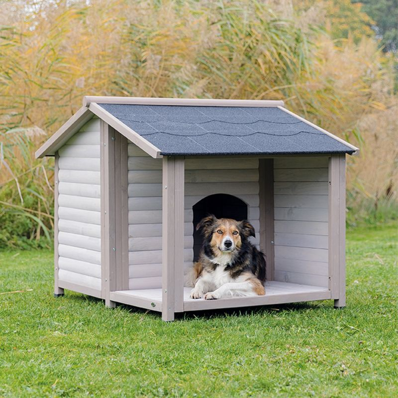 niche trixie natura lodge avec terrasse pour chien
