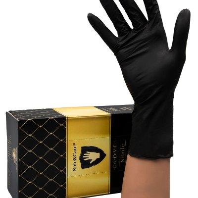Перчатки нитриловые черные , размер М, 50 пар
