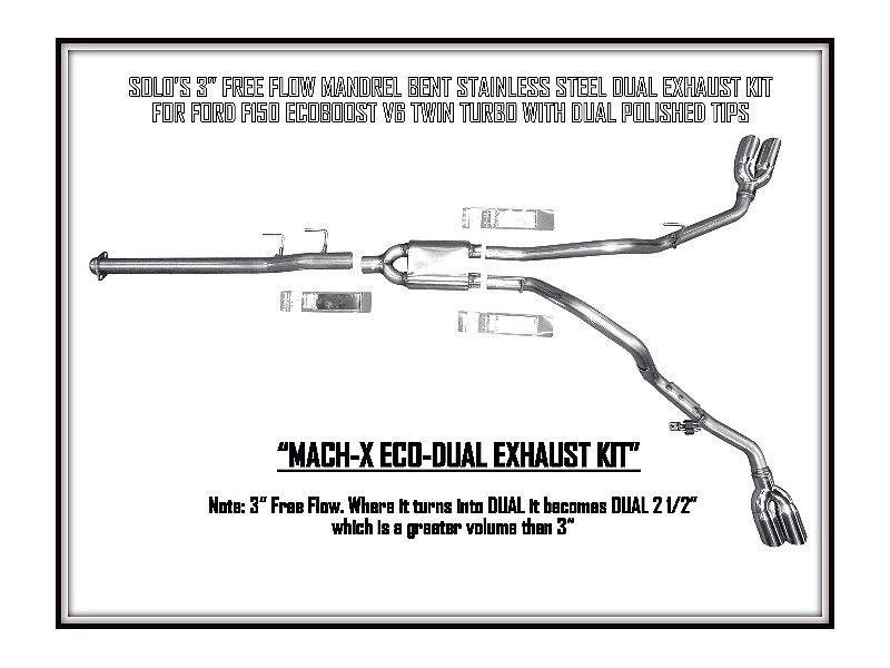 2011 2014 mach x eco dual cat back exhaust system ford f150 v6