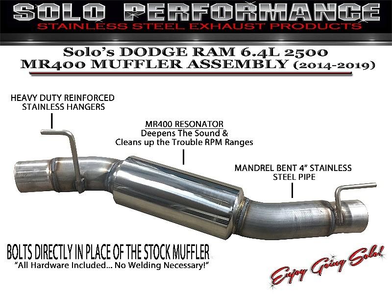 2014 2019 dodge ram 2500 6 4l solo mr400 muffler delete with res