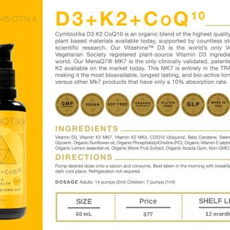 D3+K2+CoQ10 - Cymbiotika Premium Organic Herbal Supplements