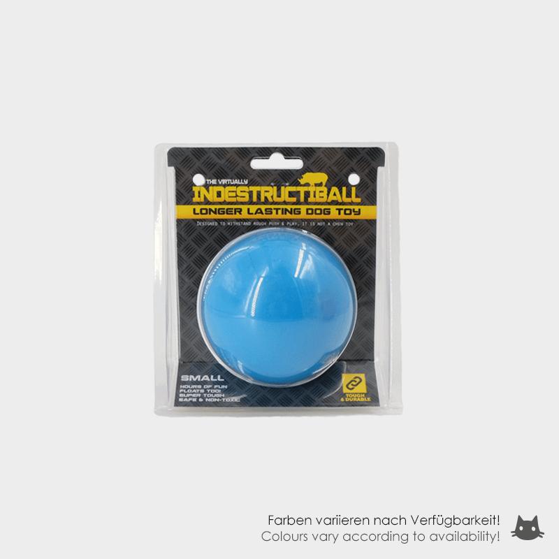 Blauer Indestructiballs von Happy Pet mit Beschriftung