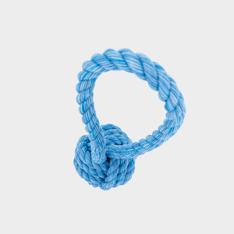Obere Ansicht des Nuts for Knots Balls mit Schlaufe in blau von Happy Pet
