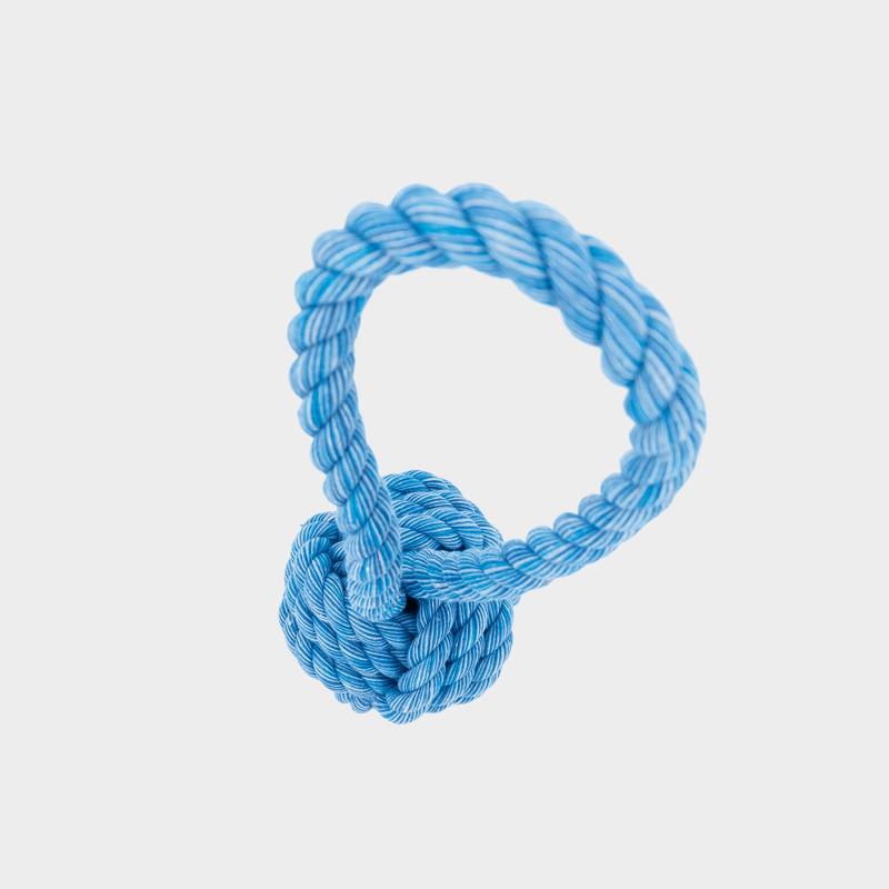 Obere Ansicht des Nuts for Knots Balls mit Schlaufe in blau von Happy Pet