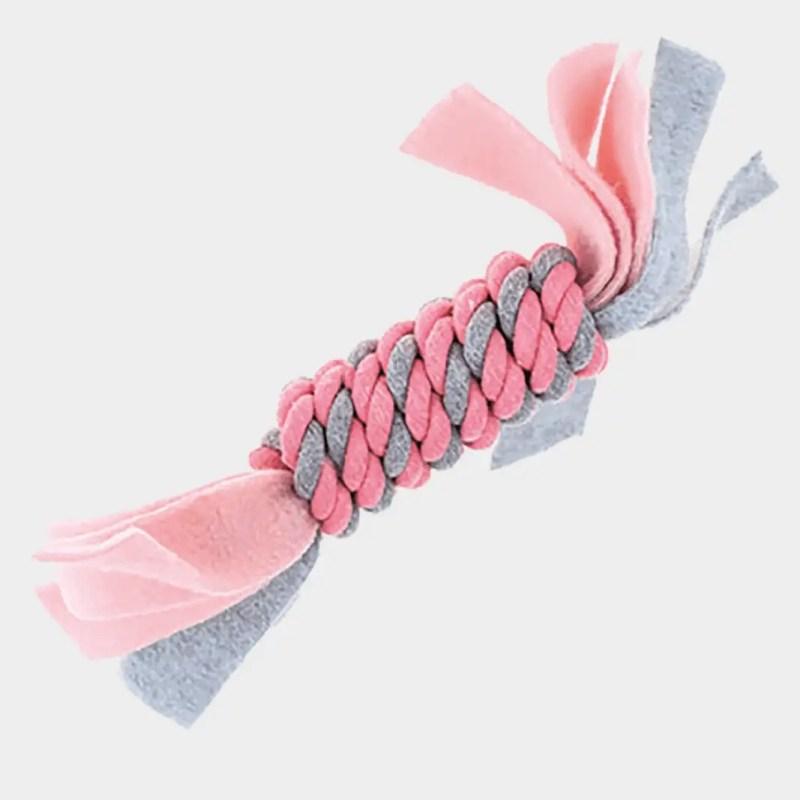 Pinkes Fleece Seilspielzeug von Little Rascals von Happy Pet mit den Maßen 25 x 5 x 5 cm