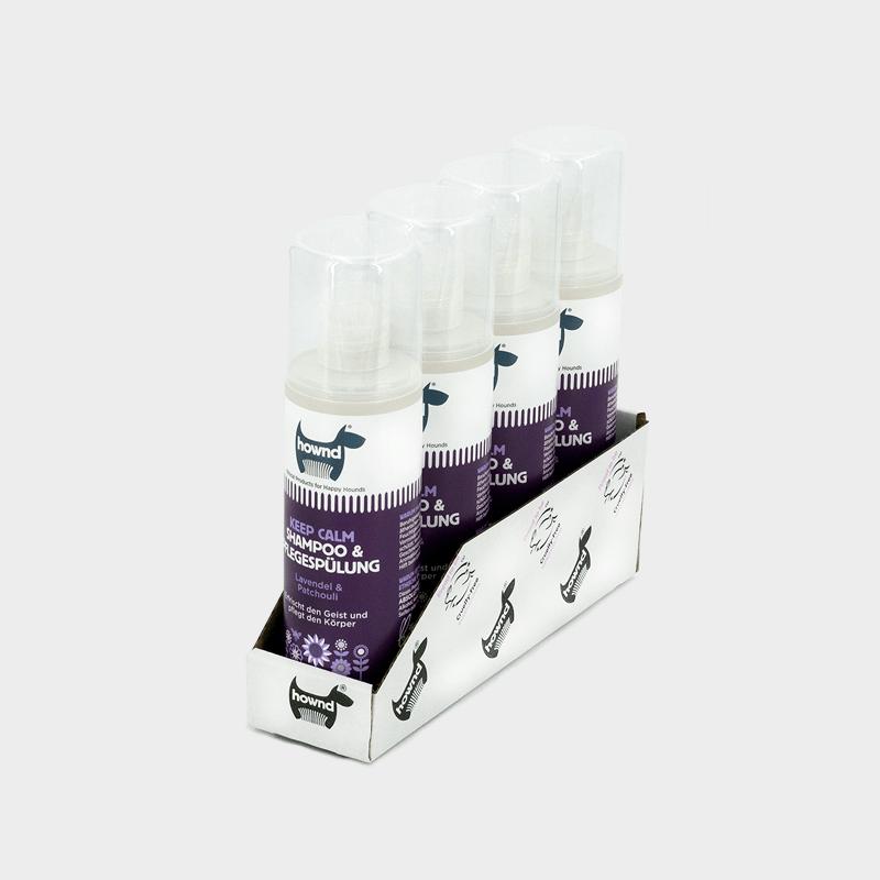 Tray 4 x 250 ml natürliches Shampoo & Pflegespülung Keep Calm von HOWND beruhigend