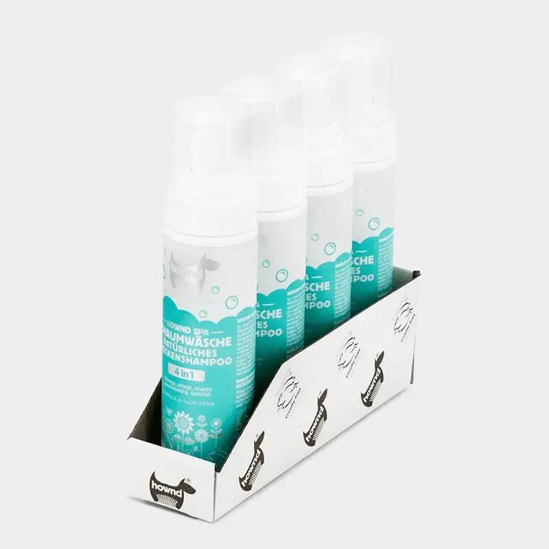 Tray 4 x 200 ml Schaumwäsche natürliches Trockenshampoo von HOWND Spa