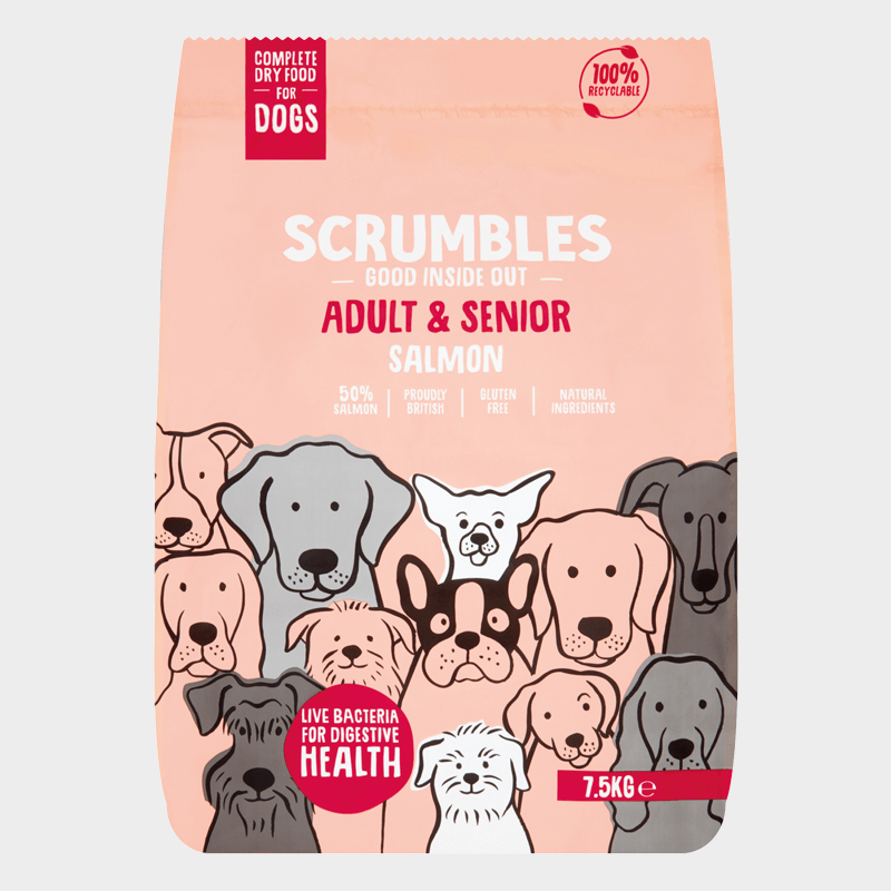 Complete food for adult dogs & senior dogs from Scrumbles - Salmon 7.5 kg