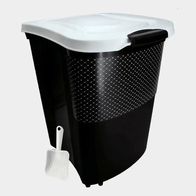 Schwarz-weiße Futterbox 38 l von Rotho MyPet