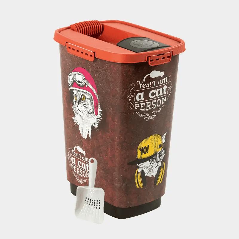 Rotho MyPet Cody Set Futterbehälter + Schaufel - Variante Vintage Katze 25 l